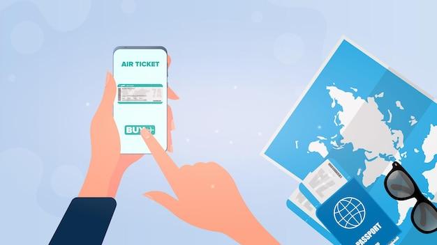 Руки покупают билет в приложении для телефона. покупка билетов онлайн.