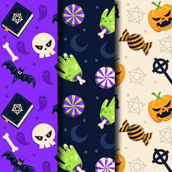 Hands and candies halloween flat design seamless patterns