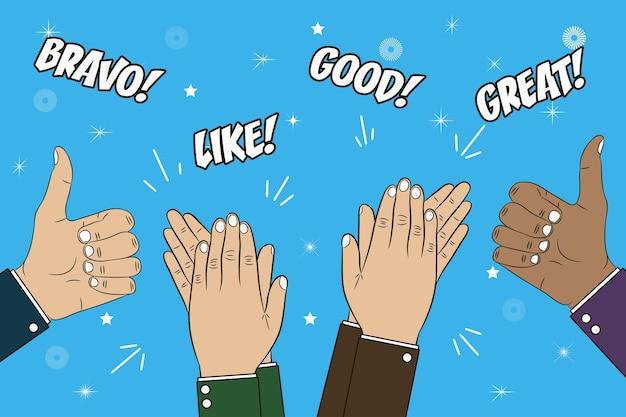 손 박수 박수와 엄지손가락 제스처 텍스트와 함께 축 하 개념 그림