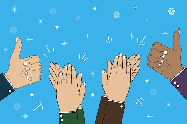 Hands clapping applause and thumb up gesture  bravo congratulations concept illustration
