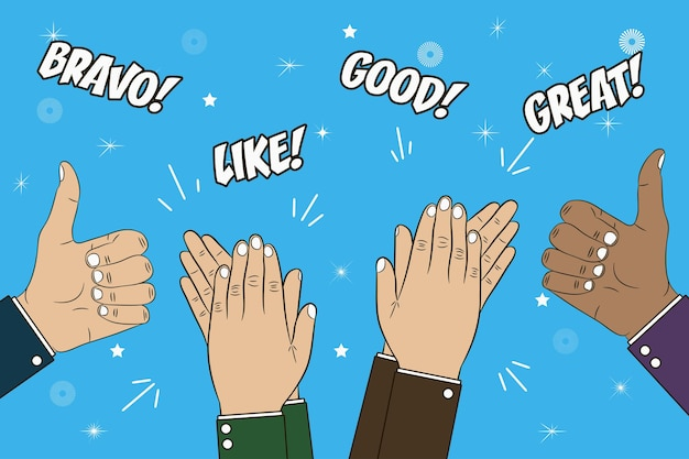Hands clapping applause and thumb up gesture congratulations concept illustration with text