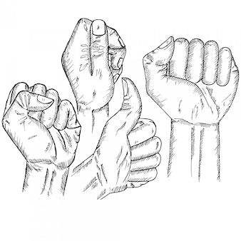 Руки сжаты, эскиз и иллюстрация