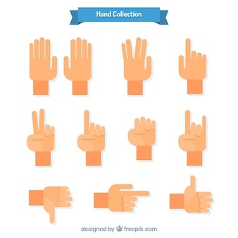 Hands collection with different poses in flat style