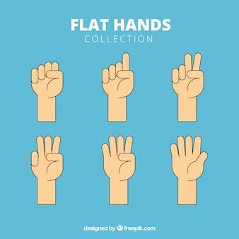 Collezione di mani con diverse pose in stile piatto