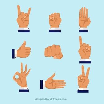 Коллекция рук с разными позами в плоском стиле