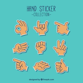 Hands collection with different poses in hand drawn style