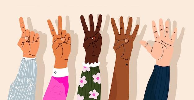 손은 손가락을 표시하여 계산합니다. 손으로 표시된 숫자. 다양한 현대식 손 손목. 만화 스타일 격리 된 요소입니다. 유행 손 아이콘입니다. 손가락을 세고 있습니다.