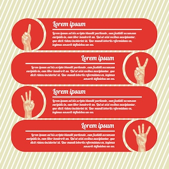 Hands counting infographics