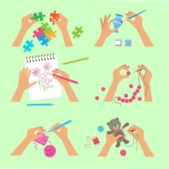 Hands craft. handy workshop scrapbook project kids hands activity knitting embroidery drawing cutting with scissors vector top view pictures. illustration sewing and craft, needlework workshop