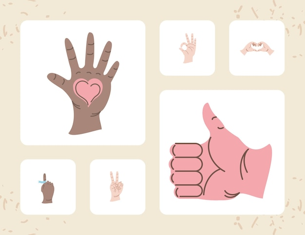 Hands different gesture