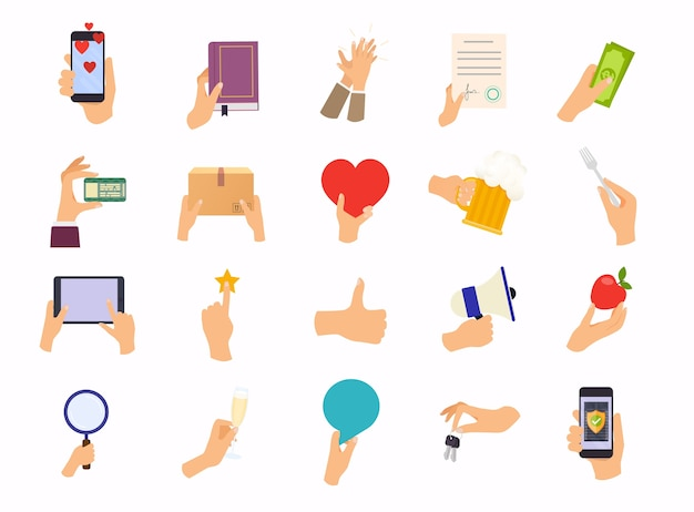 Hands in different poses. mix hand hold  device, food, money.   modern  illustration concept.