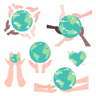 Hands of different race of people holding planet earth