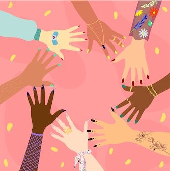 Hands of different races and nationalities in a circle. concept for diversity, inclusivity, international relationship and female friendship. feminist .