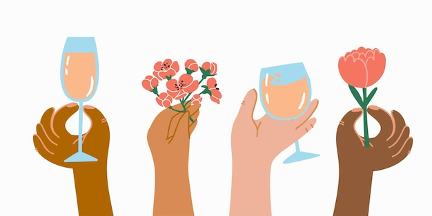 Hands of different skin colors with flowers glasses of champagne human palms wrists gestures