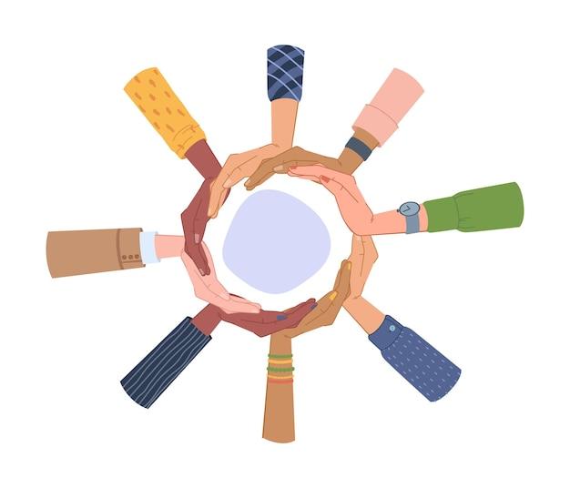Разнообразие рук вокруг пустой круглый баннер изолированные