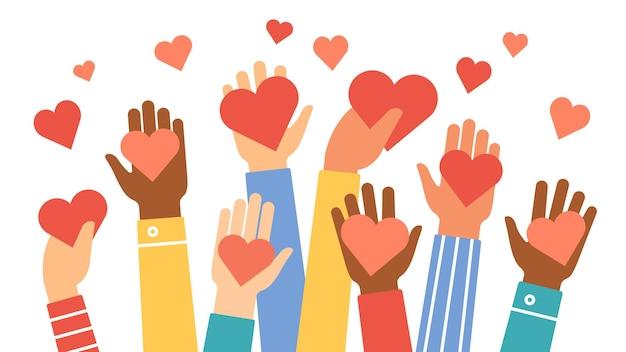 Руки дарят сердечки. символ благотворительности, волонтерства и общественной помощи с рукой дает сердце. люди разделяют любовь. векторный концепт дня святого валентина. дайте знак красное сердце в руке иллюстрации