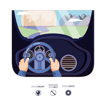 Hands driving car with driver safely icons