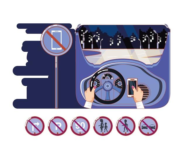 Руки вождения автомобиля с безопасным водителем значки