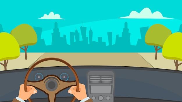 Hands driving car