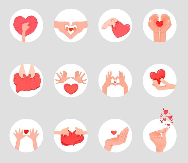 ハートの形に折りたたまれた手。バレンタインデーの手のジェスチャーの愛。