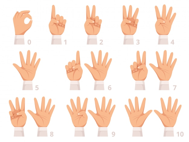손 제스처 숫자. 인간의 손바닥과 손가락은 다른 숫자 만화 그림을 보여