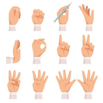 Жест руки установлены. человеческая ладонь и пальцы касаются, показывая, указывая и держа, принимая векторный мультфильм коллекция изолированных