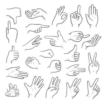 手のジェスチャー。セットのように親指を上下に示す人間のポインティング手。ジェスチャーの指の表現、手の親指と手のひら、ジェスチャーのイラストをスケッチ