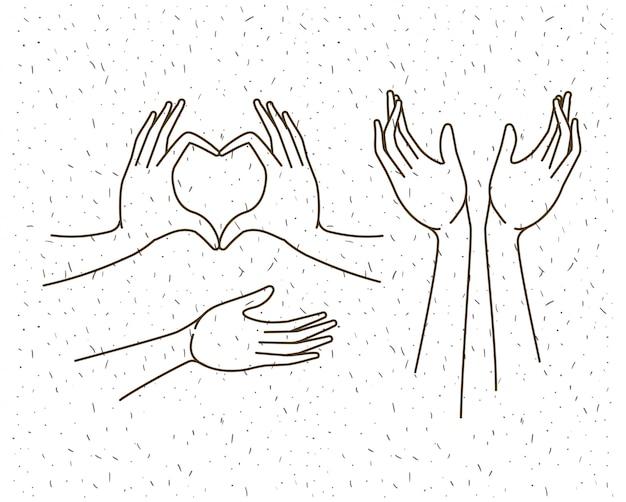Hands gestures set drawing
