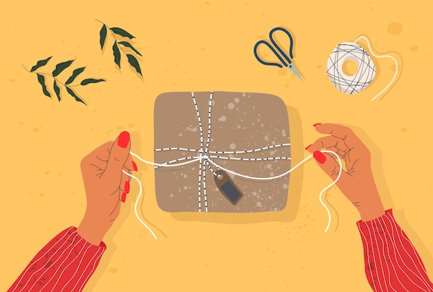 Hands and gift box on the table. trendy illustration of hands, gift box, scissors and tree branch.