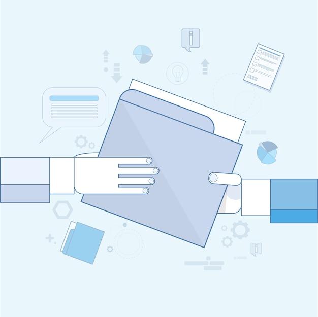 Hands give folder document papers, businessmen share information data vector illustration