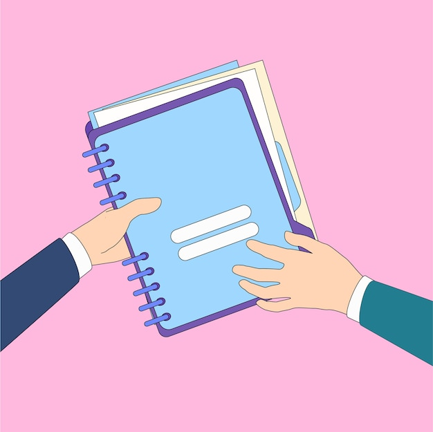 Hands give folder document papers