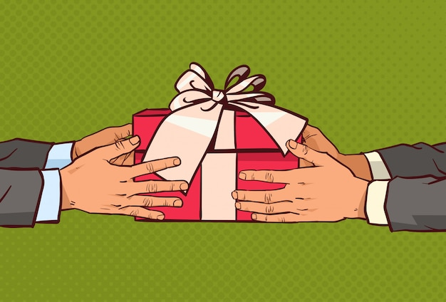 Hands giving gift to another greeting with holiday, red present box with ribbon and bow over comic vintage