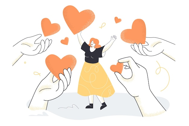 Hands giving hearts to happy tiny woman