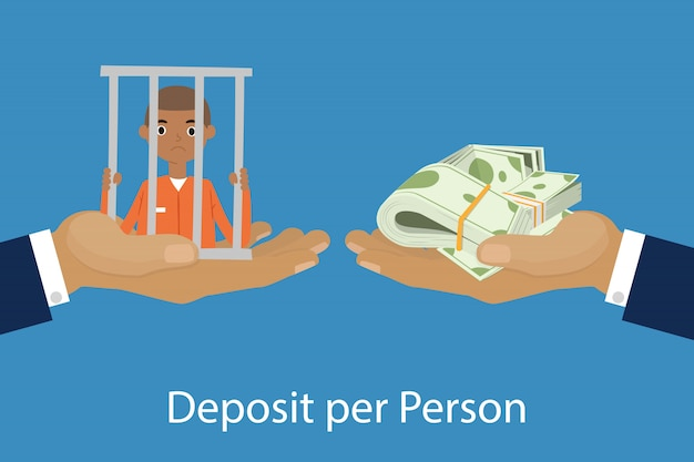 Hands giving or offering pack of money to another hand with prisoned person cartoon  illustration of deposit per person.