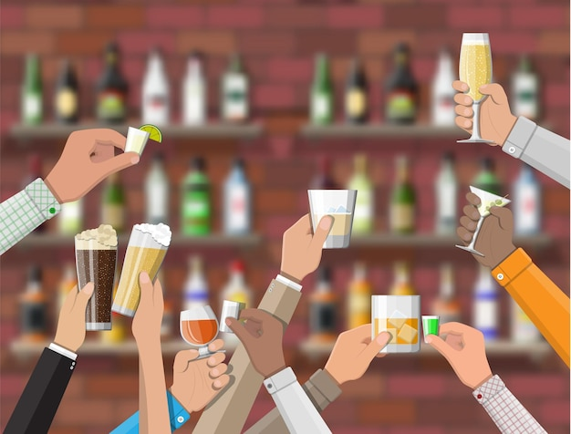 Hands group holding glasses with various drinks. drinking establishment. interior of pub cafe or bar. bar counter, shelves with alcohol bottles. celebration ceremony.