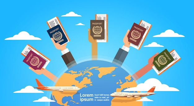 Hands group holding passport ticket