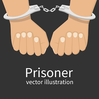 Hands in handcuffs isolated, illustration. man in jail prisoner.  illustration