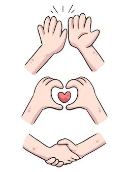 Hands high five, heart and shake hands cute cartoon illustration