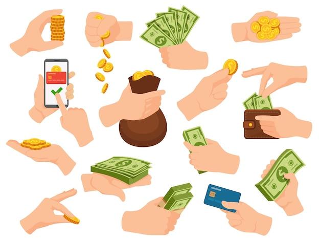 손에는 현금이 있습니다. 인간의 팔은 돈을 주고 달러 지폐, 동전 더미, 카드 및 전화 앱으로 지불합니다. 지갑과 가방 벡터 세트가 있는 손. 현금, 돈 은행 카드와 손의 그림
