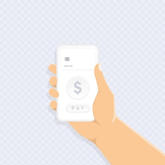 Hands hold phone. contactless payment. wireless service for customer. nfc. vector eps 10. isolated on transparent background.