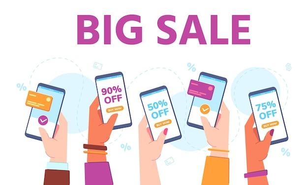手は販売で電話を保持します。スーパーマーケットのオンライン割引ショッピングアプリ。モバイル決済を使用して店頭で手作業で購入します。大きな販売バナーベクトルの概念。金融取引、非接触型決済