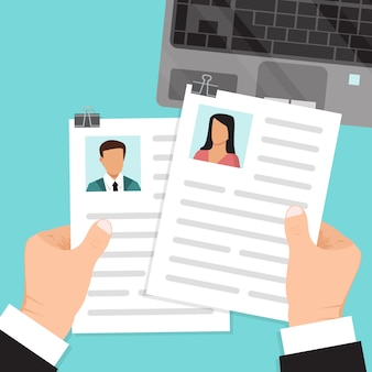 Hands hold resume illustration.