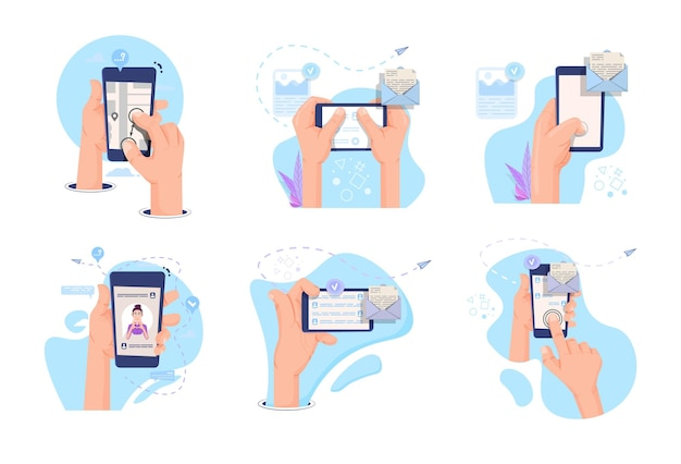 Hands hold smartphone concept for applications, cartoon style.