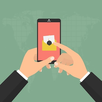 Hands hold smartphone mobile with malware virus bomb email