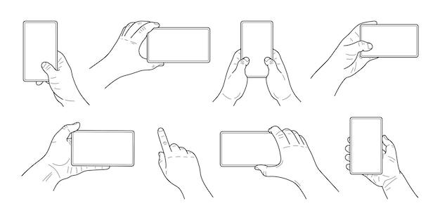 手はスマートフォンを持っています。さまざまな位置にある手のセット。グラフィックスケッチラインとストローク。いたずら書き。ベクター。