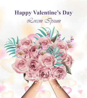 꽃 꽃다발, 발렌타인 데이 카드를 들고 손