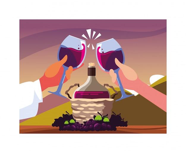 Руки держат бокалы, этикетка винный день