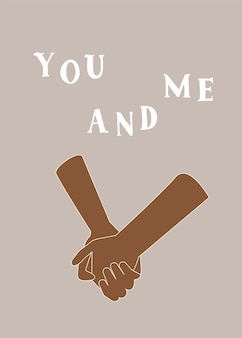 Hands holding abstract print you and me text
