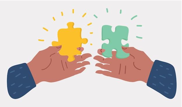 パズルのピースを持って置く手。ジグソーパズルを解きます。チームワークのビジネスコンセプト。現代の概念のベクトル漫画イラスト+