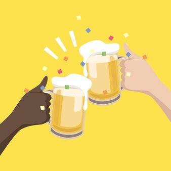 함께 축하하기 위해 맥주 잔을 들고 손